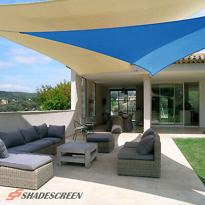 Blue Deluxe Triangle Sun Shade Sail UV Top Outdoor Canopy Patio Awning Lawn  Top