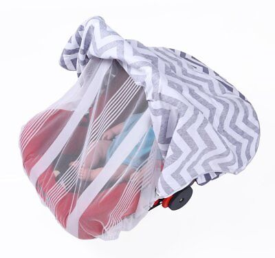 Alin&Alan Baby Car Seat Canopy with Mosquito Net Grey