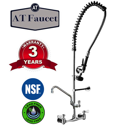 "Commercial Kitchen 8"" Center Wall-Mount Pre-Rinse Faucet with 12"" Add-On Faucet"