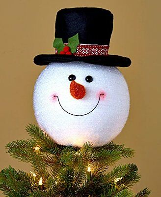 Frosty Snowman Head Top Christmas Tree Topper Decor Holiday Winter Decoration