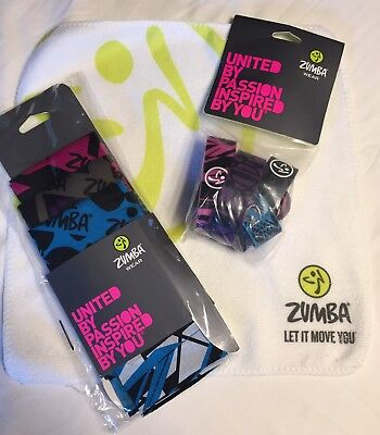 Zumba NEW 8 Rare BRACELETS 3 Bandanas, Towel  set lot Hard To Find Vintage NWT