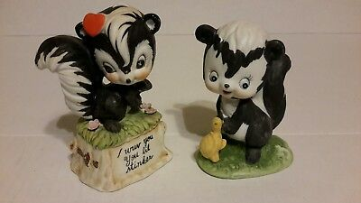 Vintage 70's Porcelain SKUNK Figurines I WUV YOU YOU LIL STINKER & TURTLE FRIEND