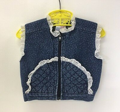 Girls Vintage Jean Vest with White Eyelet Lace Trim size 12 Months, 80s Vest