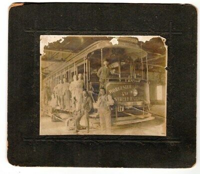 1896 Cabinet Photo of Worcester Common Trolley Car #351  RR Mass Railroad Boston