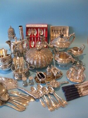 Large Job Lot of Antique Silver Plated Items and Silver Plated Cutlery