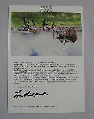 Lou Richards  Collingwood Magpies  Hand Signed Victoria Park Post Card
