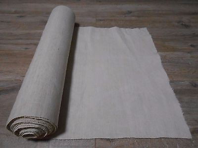 Antique Handwoven Thin White LINEN Fabric Cloth 0,54x12,5m 1920s Great condition