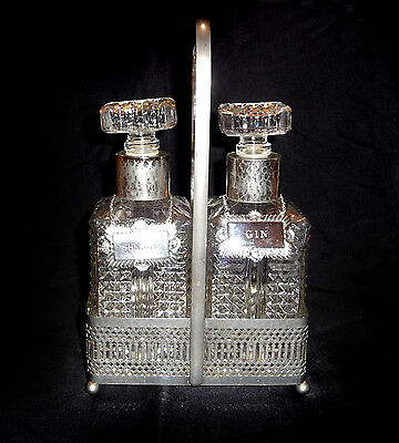 Stunning VINTAGE ORNATE DUO DECANTERS BOTTLES + SILVER PLATED STAND & LABELS