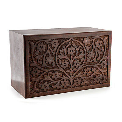 Wood Cremation Urn Tree of Life. Will hold funeral container with cremains