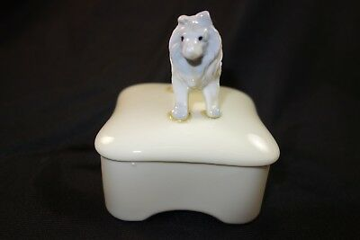 White Ceramic Rough Collie Sheltie Covered Trinket Jewelry Box - 100% to Rescue