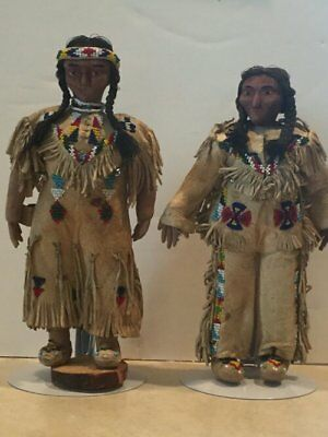 Old Couple Plains indian dolls wood face beaded buckskin Authentic original Tags