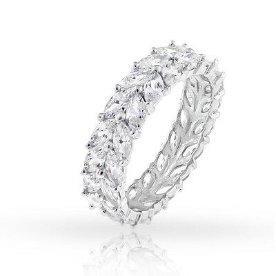 925 Sterling Silver Womens Double Row CZ Marquise Eternity Band Size 6 7 8 9