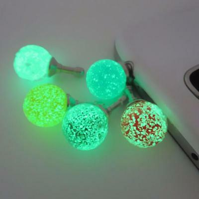 Round Colurful Rhinestone Luminous Dust Plug Mobile Phone 3.5mm Earphone Jack An