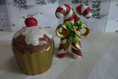 Fitz and Floyd Candy Cane/Cupcake Salt and Pepper Shakers