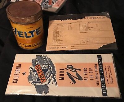Rare Veltex Cup Grease 1lb Fletcher Oil Co., Map And Lube Guide - Gas Pump Sign
