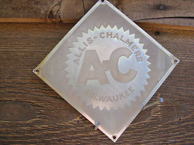 Vintage 4'' by 4''  Allis-Chalmers MILWAUKEE Stainless Sign Metal AC Tractor?