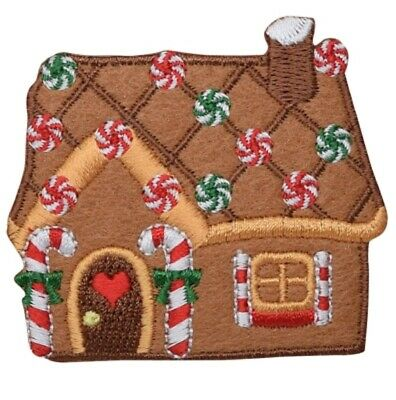 Gingerbread House Christmas Applique Patch (Iron on)