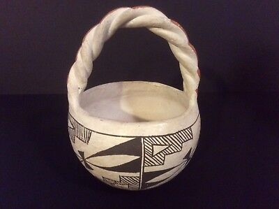 Nice Vintage Acoma Bowl with Braided Handle - Antique Puebloan Pottery 1930s-40s
