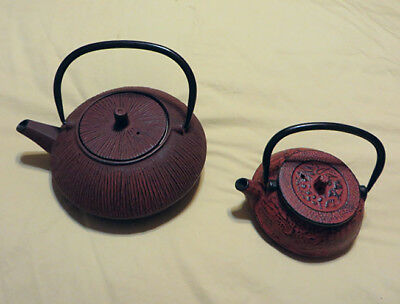 Cast Iron & Enamel Japanese / Asian Tea Pots 1-Large & 1-Small Teapot w/Infusers