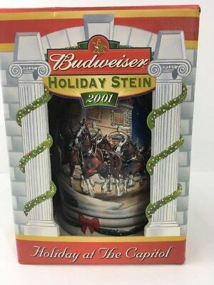 Budweiser collectible Millennial  Holiday Stein (2001) Holiday At the Capitol