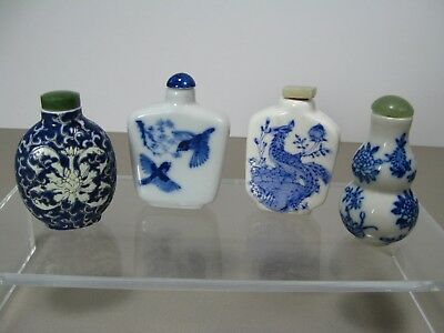 Vintage Chinese Blue and White Porcelain Snuff Bottles ~ Lot of 4 ~ Two Signed