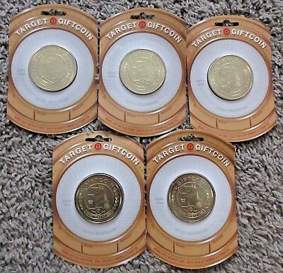 Target Giftcoin Lot Of 5 New Rare No Cash Value Gift Card Coin Spot Dog