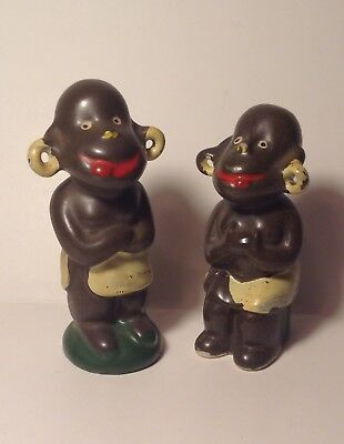 Vtg Black Americana Salt & Pepper Shaker Set-Tribal/Jungle-Japan
