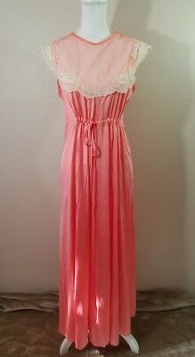 Vintage Moodsetter Front Tie Sheer Nylon Lace Dress Gown Negligee Nightie SZ S
