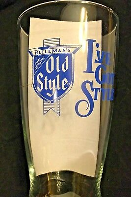 """Very Large Heileman's Pure Genuine Old Style Beer Glass 'I've Got Style"""""""