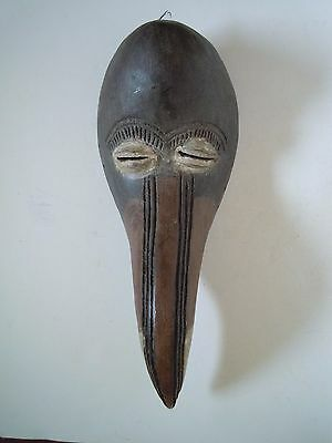 Vintage Hand Carved Wood African Tribal African Bird Mask, Dan Tribe, Liberia