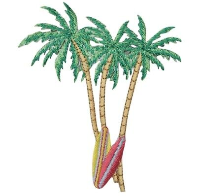 """Palm Trees Surf Boards Applique Patch - Beach, Ocean Badge 3.75"""" (Iron on)"""