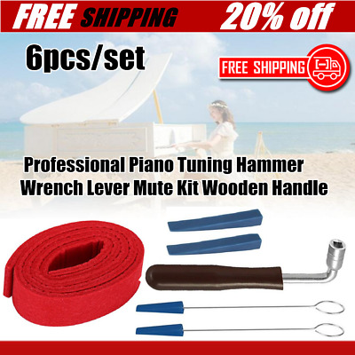 6pc/set Professional Piano Tuning Hammer Wrench Lever Mute Kit Wooden HandleBU