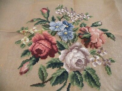Vintage Dritz Tapestry Wool  Needlepoint Canvas Piano Bench Floral, Roses Nwt