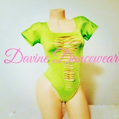 Exotic Dancewear Neon Green One Piece Cut Up Bodysuit