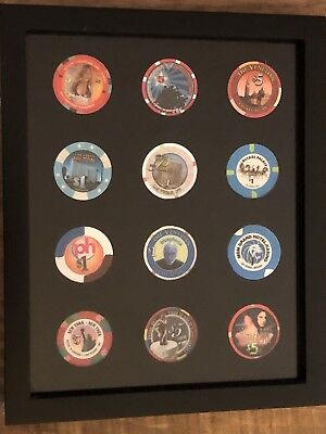 Black Casino Chip Display Frame for 12 Casino Poker Chips *INCLUDED*