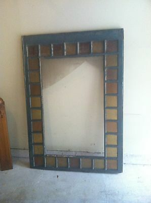 """Large Multi Colored antique vtg victorian stained glass window 65"""" X 46"""""""