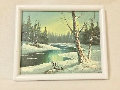 Winter scene on canvas painting medium art 11.5x9.5in- Signed by artist