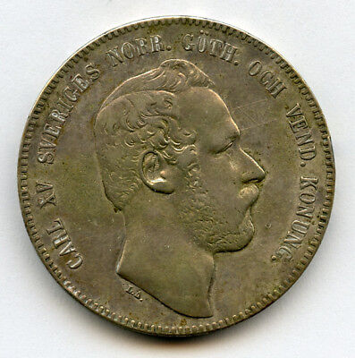 Sweden 1869 King Karl Xv Riksdaler Large Silver Crown,choice Vf.