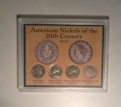 American Nickels of the 20th Century Circ 1937D,1944P Silver, 1947p & 1903 V
