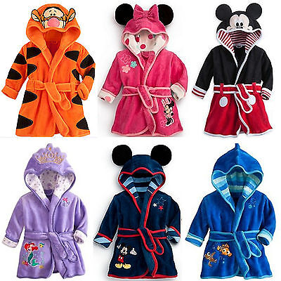 Kids Boys Girl Warm Bath Robe Gown Nightwear Sleepwear Hooded Pajamas Pj's Coat
