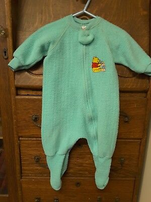 VIntage Winnie The Pooh Footed Sleeper Baby Pajamas Disney USA made 12 mos