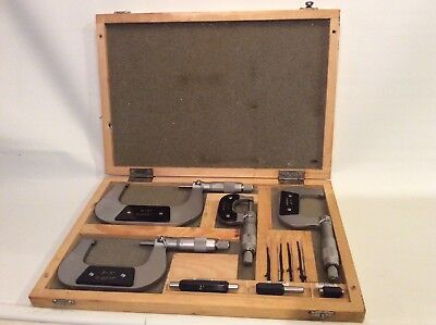 "0-4"" Outside Micrometer Set With Ratchet Stop Carbide Tip And Case"
