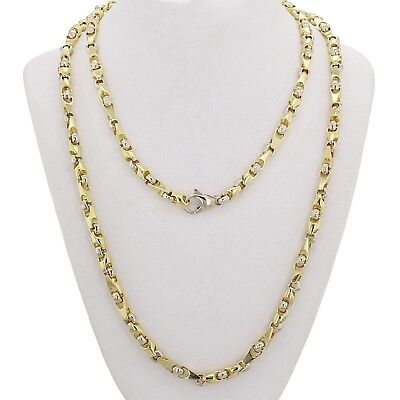 """10k Yellow & White Gold Handmade Fashion Link Necklace 24"""" 5mm 46.5 grams"""