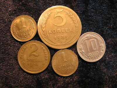 5 old world coin lot RUSSIA USSR SOVIET UNION 1931 - 1954 kopeks FREE S&H