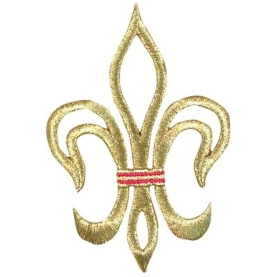 Large Fleur De Lis Cross Applique Patch - Gold and Red (Large, Iron on)