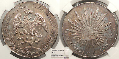 MEXICO 1889-Zs FZ 8 Reales NGC MS-62