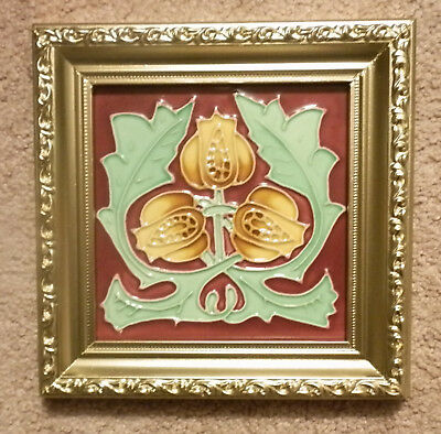 Vintage Neatco Arts & Crafts / Art Noveau 6X6 Tile And Vintage Repurposed  Frame
