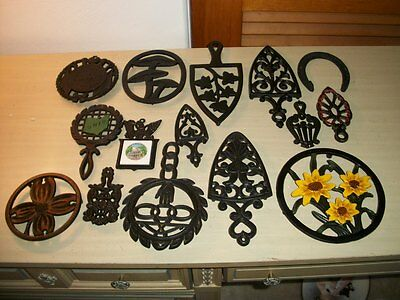 Vintage Lot Cast Iron Trivets Wilton EMIG Burns Dogwood Cathedral Metalcrafters
