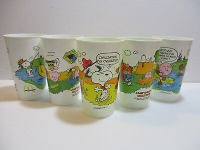 "Set of 5 1965-71 Schulz Peanuts ""Camp Snoopy"" McDonald's Cups - Charlie Brown"