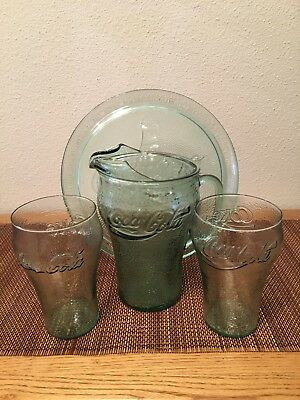 Coca Cola Green Glass Embossed Cola Logo Platter Tray, Pitcher, Glasses